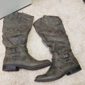 Knee high grey boots